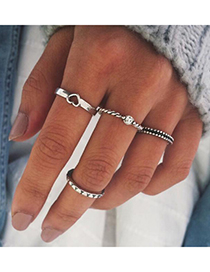 Fashion Silver Love Set With Diamond Ring Set Of 4