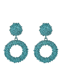 Fashion Blue Alloy Round Earrings