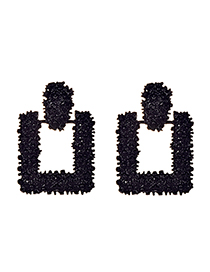 Fashion Black Alloy Square Earrings