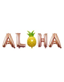 Fashion Pineapple Aloha (rose Gold) 16 Inch Letter Aluminum Foil Balloon Set