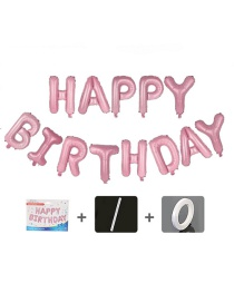 Fashion Us Version Pink Birthday Set [sipper Ribbon] 16 Inch Letter Inch Aluminum Foil Balloon Set