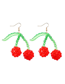 Fashion Red Cherry Woven Bead Earrings