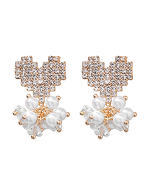 Fashion Gold 925 Silver Needle Full Diamond Love Pearl Earrings