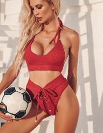Fashion Red Pull-out Strappy Swimsuit