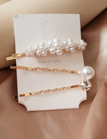 Fashion Gold Pearl Flower With Diamond Hair Clip Set