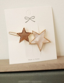 Fashion Frog Clip - Two-star Coffee Color Contrast Hair Clip