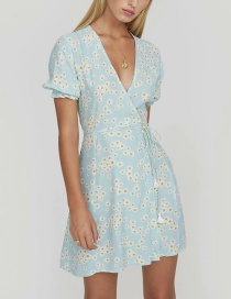 Fashion Blue Daisy Print Lace Dress