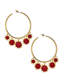 Fashion Red Alloy Circle Five Sun Earrings
