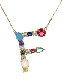 Fashion Gold Copper Inlaid Zircon Letter F Necklace Large