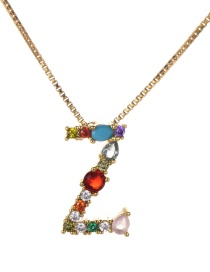 Fashion Gold Copper Inlaid Zircon Letter Z Necklace Trumpet
