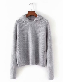 Fashion Gray Core Yarn Hooded Sweater