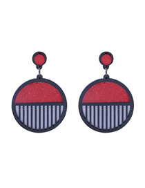 Fashion Red Striped Circle Earrings