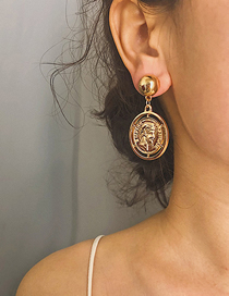 Fashion Gold Round Embossed Letter Portrait Earrings