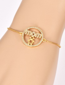 Fashion Gold Copper Inlaid Zircon Letter Mom Bracelet