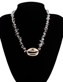 Fashion Transparent Color Natural Stone Large Shell Necklace