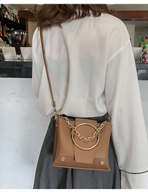 Fashion Brown Ring Rivet Portable Slung Shoulder Bag
