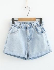 Fashion Light Blue Flower Curled Denim Shorts