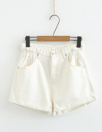 Fashion White Flower Curled Denim Shorts