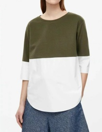 Fashion Green Contrast Round Neck Top