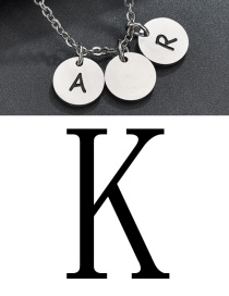 Fashion Steel Color K Letter Corrosion Dripping Round Medal Pendant