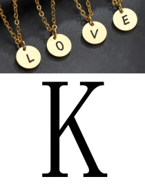 Fashion Golden K Letter Corrosion Dripping Round Medal Pendant