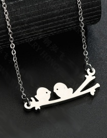 Fashion Gold Twig Two Bird Necklace
