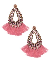 Fashion Leather Pink Alloy Studded Tassel Earrings