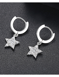 Fashion Silver Pentagonal Earrings