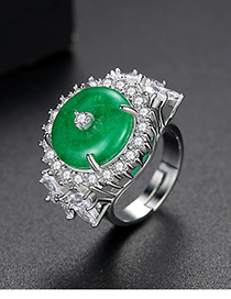 Fashion Silver Round Green Chalcedony Ring