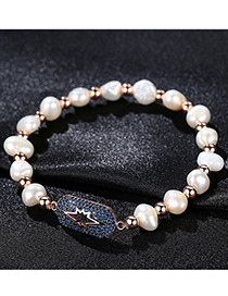 Fashion Dark Blue Rose Gold Pearl Zirconium Bracelet