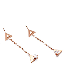 Fashion Rose Gold Hollow Geometric Earrings