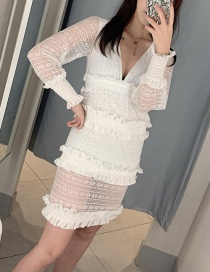 Fashion White Ruffled Puff Sleeve V-neck Lace Dress