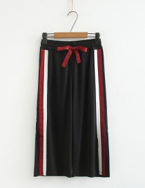 Fashion Red Elasticated Waist Drawstring Lacing Side Stripe Split Split Seven-leg Wide-leg Pants