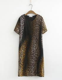 Fashion Yellow Leopard Print Dress