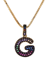 Fashion G Gold Copper Inlaid Zircon Letter Necklace