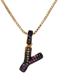 Fashion Y Gold Copper Inlaid Zircon Letter Necklace