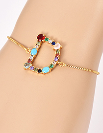Fashion D Gold Copper Inlaid Zircon Letter Bracelet