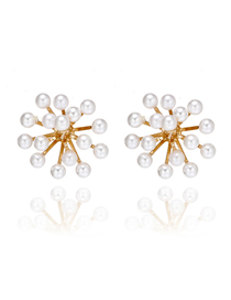 Fashion Gold Snowflake Pearl Irregular Geometric Earrings