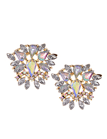 Fashion Ab Color Alloy Stud Earrings