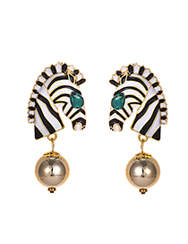 Fashion Zebra Alloy Zebra Head Earrings