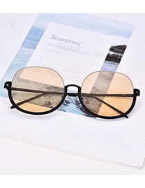 Fashion Light Orange Alloy Resin Chain Half Frame Sunglasses(Without chain)