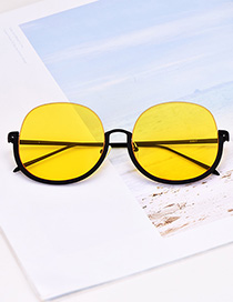 Fashion Yellow Alloy Resin Chain Half Frame Sunglasses(Without chain)