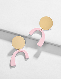 Fashion Pink Geometric Paint Stitching Contrast Color Earrings