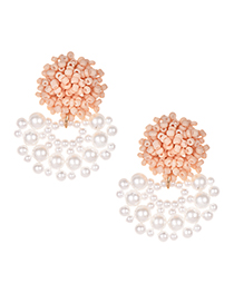 Fashion Pink Alloy Resin Small Pearl Earrings