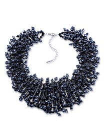 Fashion Black Beaded Double Crystal Necklace