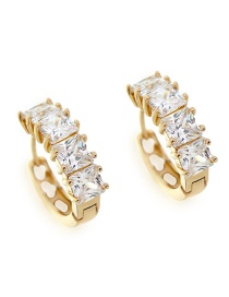 Fashion Gold Copper Inlaid Square Zircon Earrings