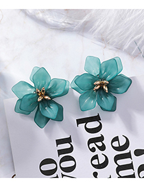 Fashion Blue 925 Silver Needle Scrub Flower Earrings