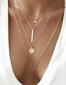 Fashion Gold Alloy Round Four-layer Necklace