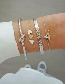 Fashion Silver + Gold Alloy Bull Head Bracelet Set