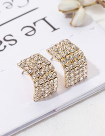 Fashion Gold Diamond Stud Earrings